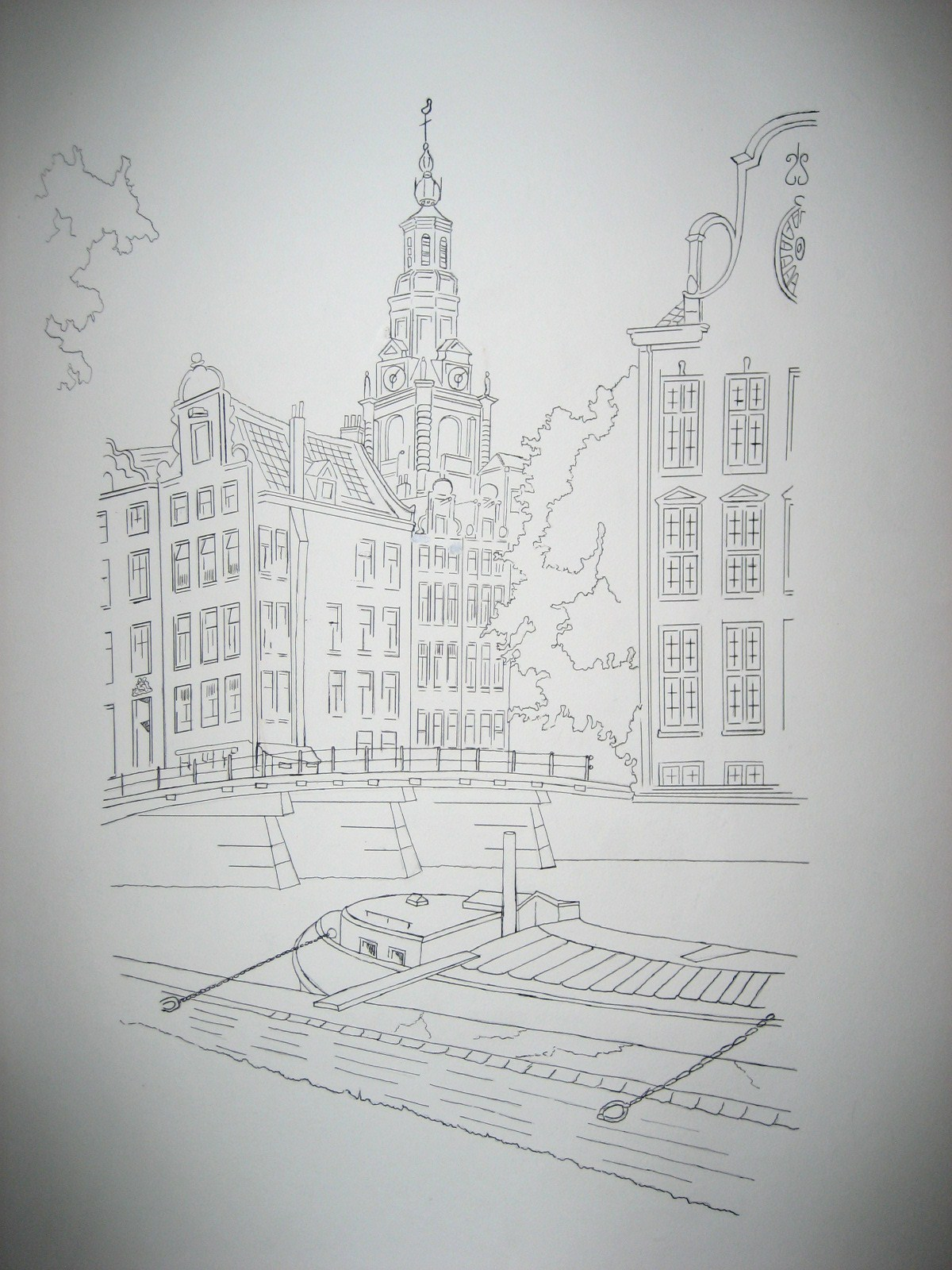 511 - Canal in Amsterdam - unfinished (becomes an aquarel)